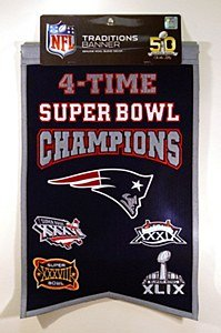 NFL New England Patriots 4X Super Bowl Champions Banner, One Size, Multicolor (Patriots Banner Champions compare prices)