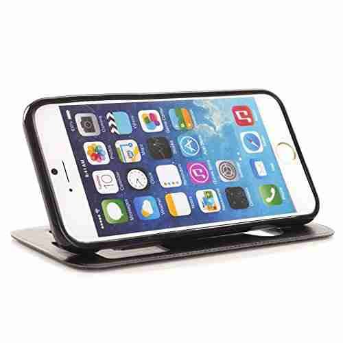 For Iphone 6 Case Cover,Nancy'S Shop Iphone 6 (4.7) Leather,Iphone 6 Leather Case,Iphone 6 Leather,Two Windows Design Leather With Stand Case Cover For Iphone 6 (4.7) (2014)-(Black-Apple Iphone 6 4.7 Nancy'S Shop Case Cover)