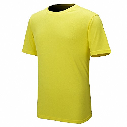 Maoko Mens Sports Short Sleeve Polyester T-Shirt,Running T Shirts for Boys Quick Drying Yellow