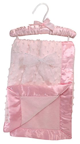 Stephan Baby Super-Soft Reversible Satin-Trimmed Velour Plush Bumpy Blanket, Pink