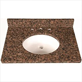 "43"" x 22"" 3cm Single Bowl Granite Vanity Top with 8"" Centers Finish: Beige"