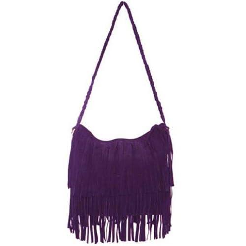 THG Purple Fringe Tassel Shoulder Messenger Stylish Women Girl Handbag Bags