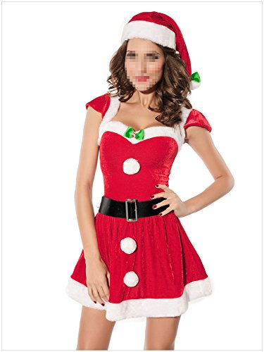 [Paplan Women's Santa Christmas Costume Gift Cosplay Dance Dress] (Elf Outfit For Women)
