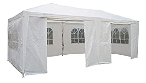 Airwave 3 x 6m Party Tent Gazebo Marquee with 2  x  Unique WindBars and Side Panels 120g Waterproof Canopy, White, 120g