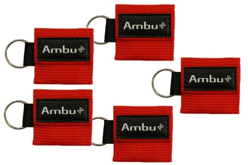 Pack of 5 Ambu Res-Cue Key Mini CPR Mask Keychains