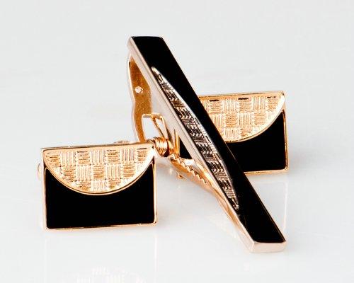 Lodestar Golden Nebula Yin-Yang Style Cufflink & Tieclip Set with Gift Box (B-64)