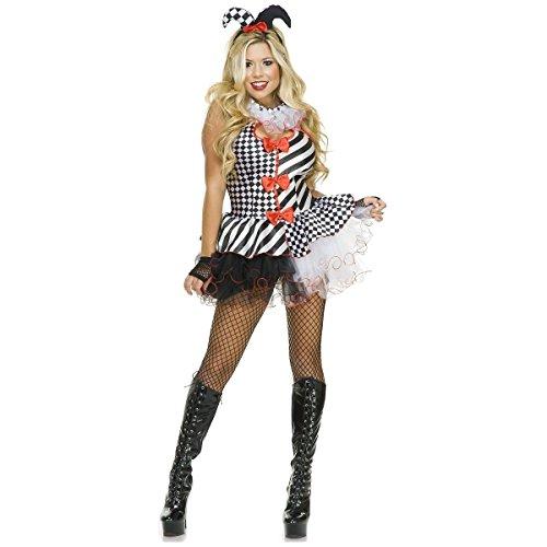 [GSG Harlequin Costume for Women Adult Sexy Jester Halloween Fancy Dress] (Honey Monster Costume Xl)