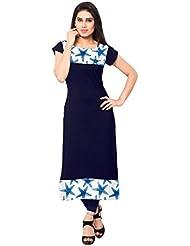 Kenil Fabrics Navy Blue Crepe Silk Unstich Printed Kurti For Women