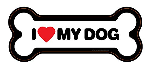 I LOVE MY DOG Decal Bone shaped 5