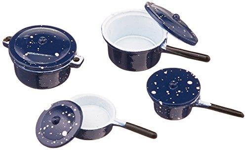 Timeless Miniatures-Blue Pots & Lids 4/Pkg (Character Coffee Pot compare prices)