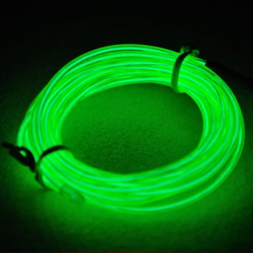 Tdltek Neon Glowing Strobing Electroluminescent Wire /El Wire + Car Cigarette Controller, Green 9Ft