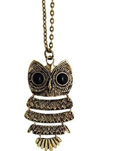 Black Opal Owl Pendant Necklace - Vintage Bronze Pendant Necklace