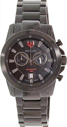 SWISS EAGLE SE-9055-77 - Reloj para hombres, correa de acero inoxidable