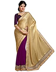 Wine And Beige Faux Chiffon And Faux Georgette Saree With Blouse