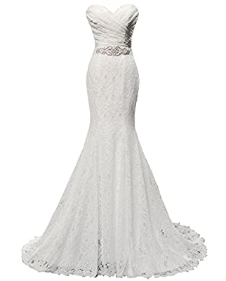 Solovedress Women's Lace Wedding Dress Mermaid Evening Dress Bridal Gown with Sash