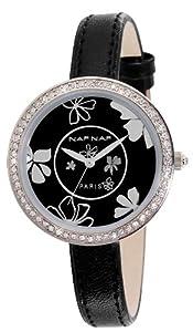 Naf Naf - N10082-203 - Vanille - Montre Femme - Quartz Analogique - Cadran Noir - Bracelet Cuir Noir