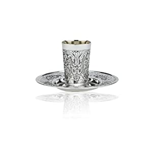 Sterling Silver Plated Kiddush Cup with Floral Pattern and Inscribed Diamonds