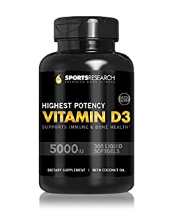 Vitamin D3 5000iu (High Potency) 360 Softgels; Enhanced with Organic Coconut Oil for Better Absorption; Made In USA