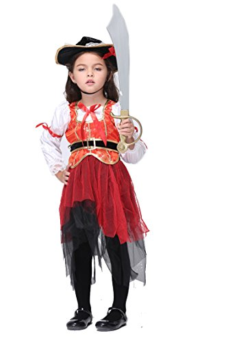 NonEcho Girls Pirate Halloween Costume for 3-11 Years Old