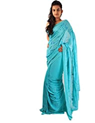 Casual Wear Sky Blue Indian Saree Sequins Work Georgette Fancy Sari