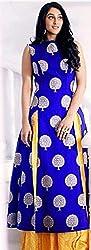 KHAZANAKART WOMENS BLUE JACQUARD EXCLUSIVE DESIGNER DRESS MATERIALS