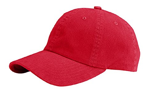 MG Unisex Low Profile Dyed Cotton Twill Cap Velcro Closure RED (Low Profile Trucker Cap compare prices)