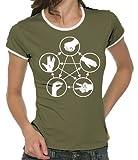 Touchlines Damen The Big Bang Theory - Stein Schere Papier Echse Spock Girlie Ringer T-Shirt