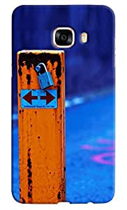 Omnam Wooden Sign Board With Lock Printed Designer Back Case For Samsung Galaxy C7