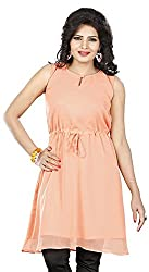 Twinkal Women's Round Neck Top / Tunic (TWTP0012-15_S, Peach, S)