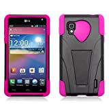 Dual Layer Plastic Silicone Black On Hot Pink Hard Cover Snap On Case W/ Y Kickstand For LG Optimus G LS970 Sprint (StopAndAccessorize)