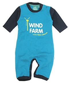 Little Green Radicals organic Fairtrade cotton Wind Farm Playsuit  (Turquoise, 6-12 Months)