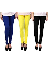 Snoogg Womens Ethnic Chic Inspired Churidar Leggings In Blue, Yellow And Blue