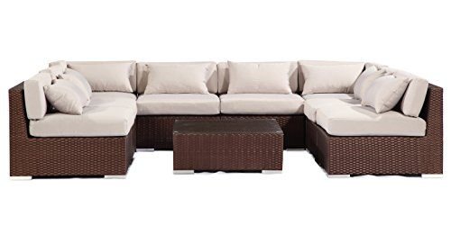 Outdoor Garden Furniture Modern Sofa Sectional Modify-ItTM Aloha Oahu 9-pc Set, Espresso Wicker/Grey Cushions by Kardiel photo