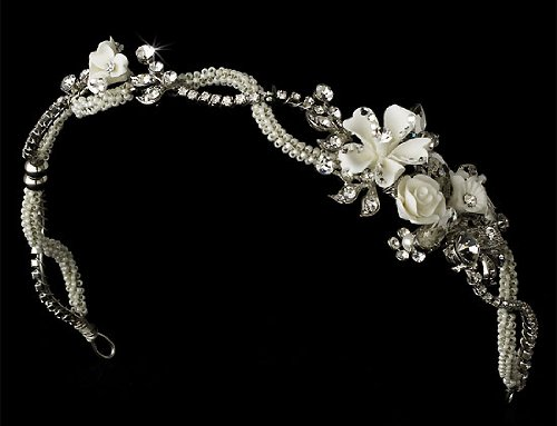 Floral Wedding Headband Bridal Tiara with Rhinestone 390