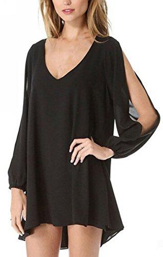 Uget Women's Casual Oversize Loose V-neck Long Sleeve Chiffon Tunic Tops Mini Dress Black