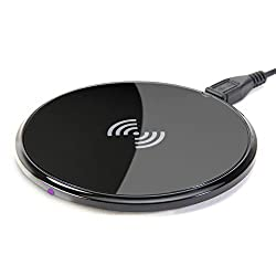 Qi Wireless Charger, GMYLE Ultra-Slim Qi Charging Pad for All Qi Compatible Smartphones - Black