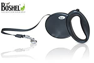 Boshel® Retractable Dog Leash -High Quality Dog Lead Comfortably Designed Ribbon Style Leash- for Dogs up to 100 Pounds (black)