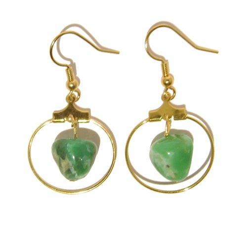 Chrysoprase Earrings 01 Dangle Gold Hoop Green Gemstone Reiki Healing 1.5