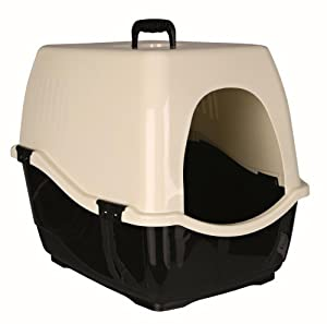 Bill' Cat Litter Tray Toilet With Hood - Black/Cream