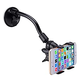 Car Mount, LIANSING Long Arm Universal Car Mount Holder With 360 Degree Rotation Suction Cup for Apple iPhone 6 PLUS/6/5s/5c, Samsung Galaxy S6/S5/S4 and Other Android Phones (long cup black/red)