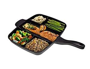 La Cucina© 5 Sections Divided Non-stick Grill Fry Oven cookware Frying iron cast skillet Pan 15""