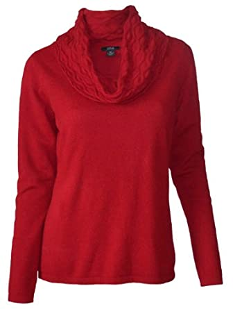 Prive Cashmere Women's Cowl Neck 100% Cashmere Pullover Sweater-Scarlet-XL