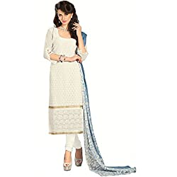 Manthan Georgette Off-White Embroidered Women's Chudidar Suit MNTKFBRCRS1006