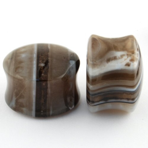 Pair of Agate Stone Double Flared Domed Plugs: 5/8