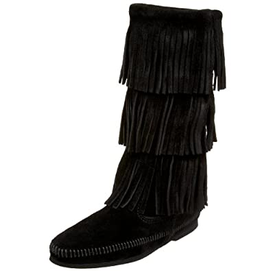 Minnetonka Women's  3-Layer Fringe Boot,Black,5 M US