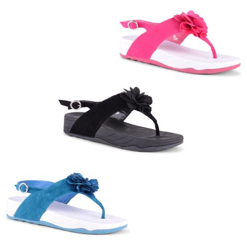 New Ladies Flat Toe Post Summer Flower Sandals Back Strap Buckle