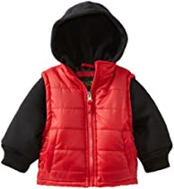 iXtreme Baby-Boys Infant Twofer Solid Puffer, Red, 12 Months