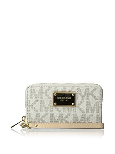 Michael Kors Large Multifunction Vanilla Logo Phone Case front-675523