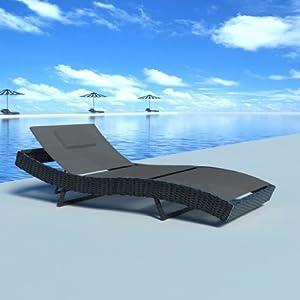 chaise longue transat lit de terrasse en rotin jardin bain soleil piscine noir. Black Bedroom Furniture Sets. Home Design Ideas
