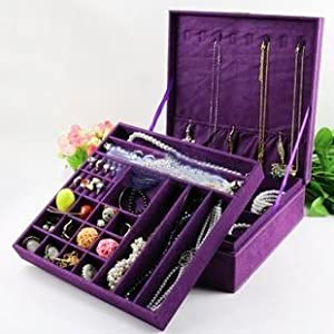 KLOUD ® Purple two-layer lint jewelry box / organizer / display storage case with lock plus KLOUD cleaning cloth